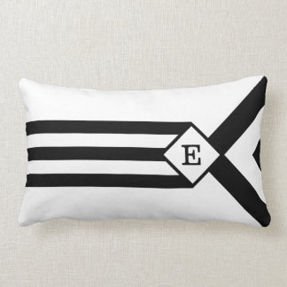 Black Stripes and Chevrons with Monogram on White Lumbar Pillow