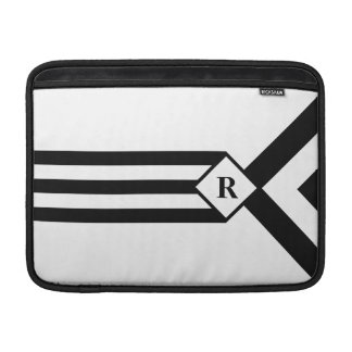 Black Stripes and Chevrons with Monogram on White MacBook Sleeve