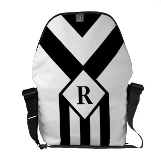 Black Stripes and Chevrons with Monogram on White Messenger Bag