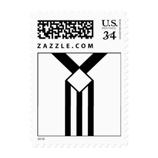 Black Stripes and Chevrons with Monogram on White Postage