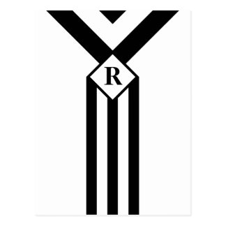 Black Stripes and Chevrons with Monogram on White Postcard