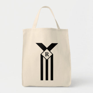Black Stripes and Chevrons with Monogram on White Tote Bag