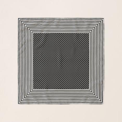 Black Stripes and Dots Square Chiffon Scarf