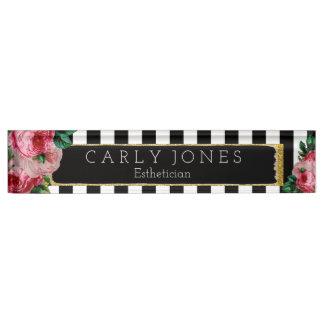 Black Stripes and Floral Desk Nameplate