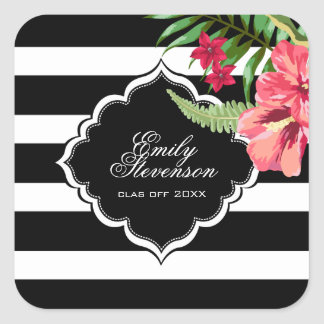 Black Stripes And Hibiscus- Graduations Square Sticker