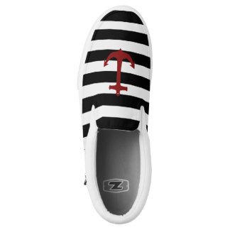 Black Stripes and Red Anchor Zipz Slip On Shoe