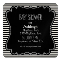Black Stripes baby shower Monogram Card