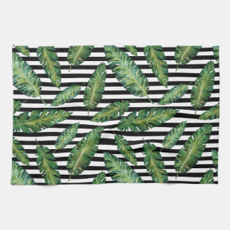 Black stripes banana leaf tropical summer pattern hand towel