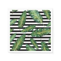 Black stripes banana leaf tropical summer pattern paper napkin