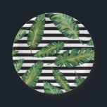 "Black stripes banana leaf tropical summer pattern paper plate<br><div class=""desc"">Green Watercolor banana leaves tropical summer pattern with black white stripes. This design contains a transparent background that allows you to choose a color or leave it white.</div>"