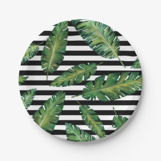 Black stripes banana leaf tropical summer pattern paper plate