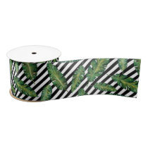 Black stripes banana leaf tropical summer pattern satin ribbon
