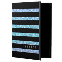 Black Stripes Blue-Green Glitter Powis iPad Air 2 Case