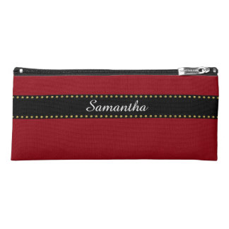 Black Stripes Border with dots garland gold Pencil Case