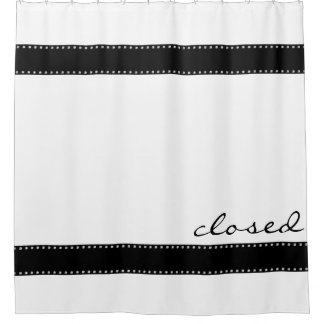 Black Stripes Border With Dots Garland Silver Shower Curtain