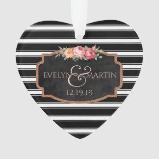 Black Stripes Chalkboard Wedding Keepsake Heart Ornament