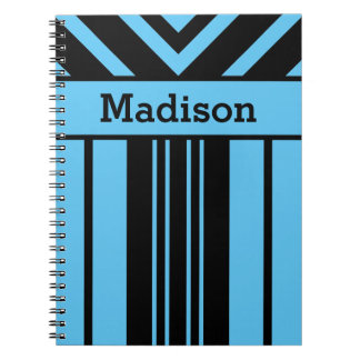 Black Stripes & Chevrons, Custom Name & Background Spiral Notebook