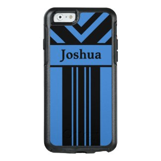 Black Stripes & Chevrons on Blue with Your Name OtterBox iPhone 6/6s Case
