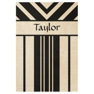 Black Stripes Chevrons with Your Name Wood Poster