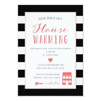 "Black Stripes Coral Housewarming Party Invitation 5"" X 7"" Invitation Card"