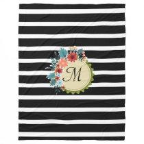 Black Stripes Floral Monogram Blanket