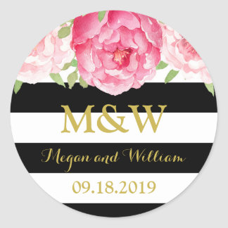 Black Stripes Floral Monogram Wedding Favor Tag Classic Round Sticker