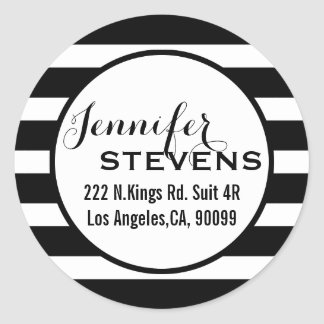 Black Stripes Geometric Pattern Classic Round Sticker