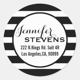 Black Stripes Geometric Pattern Classic Round Sticker