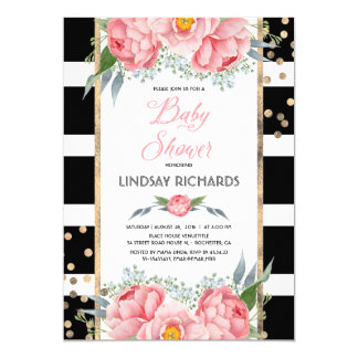 Black Stripes Gold and Pink Floral Baby Shower Card