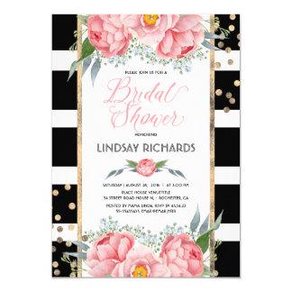 Black Stripes Gold and Pink Floral Bridal Shower Card