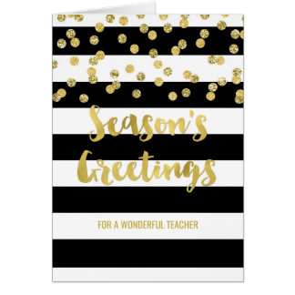 Black Stripes Gold Confetti Christmas Teacher Card