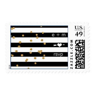 Black Stripes Gold Confetti RSVP Postage