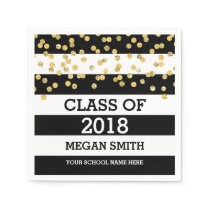Black Stripes Gold Dots Class of 2018 Graduation Napkin