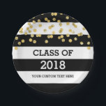 "Black Stripes Gold Dots Class of 2018 Graduation Paper Plate<br><div class=""desc"">Graduation party class of 2018 plates in glamorous gold confetti pattern with black and white stripes. Please note gold is photographic effect only.</div>"