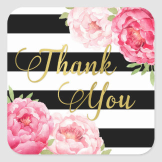 Black Stripes Gold Floral Thank You Favor Tags