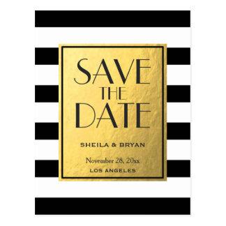 Black Stripes Gold Foil Save The Date Post Card