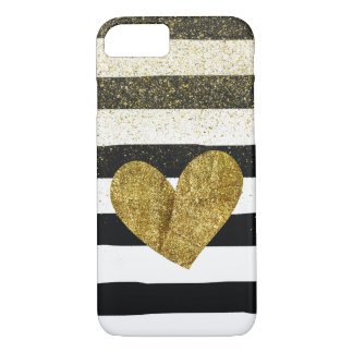 Black Stripes Gold Heart Glitter Shimmer iPhone 7 Case