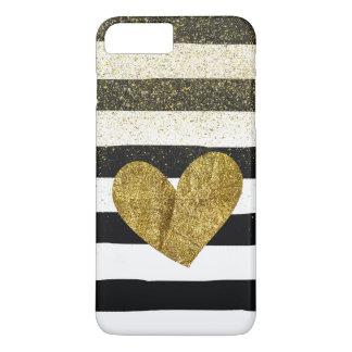 Black Stripes Gold Heart Glitter Shimmer iPhone 7 Plus Case