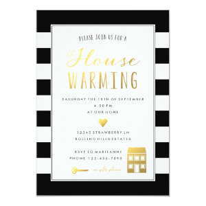 Black Stripes Gold Housewarming Party Invitation