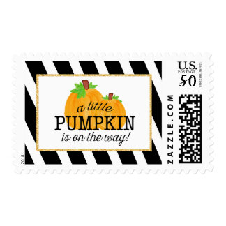 Black Stripes Gold Little Pumpkin Fall Baby Shower Postage