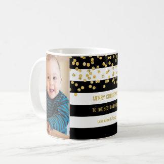 Black Stripes Gold Photo Best Dad Christmas Coffee Mug