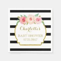 Black Stripes Gold Pink Floral Baby Shower Napkin