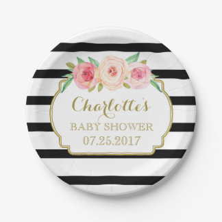 Black Stripes Gold Pink Floral Baby Shower Plate