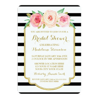 Black Stripes Gold Pink Floral Bridal Shower Card