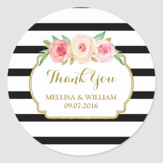 Black Stripes Gold Pink Floral Wedding Favor Tags