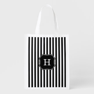 Black Stripes Grocery Bag with Custom Name