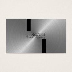 Black Stripes on Silver Auto Detailing Business Card at Zazzle