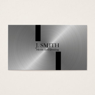 Black Stripes on Silver Auto Detailing Business Card