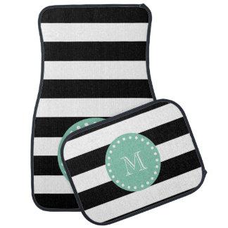 Black Stripes Pattern, Mint Green Monogram Car Mat