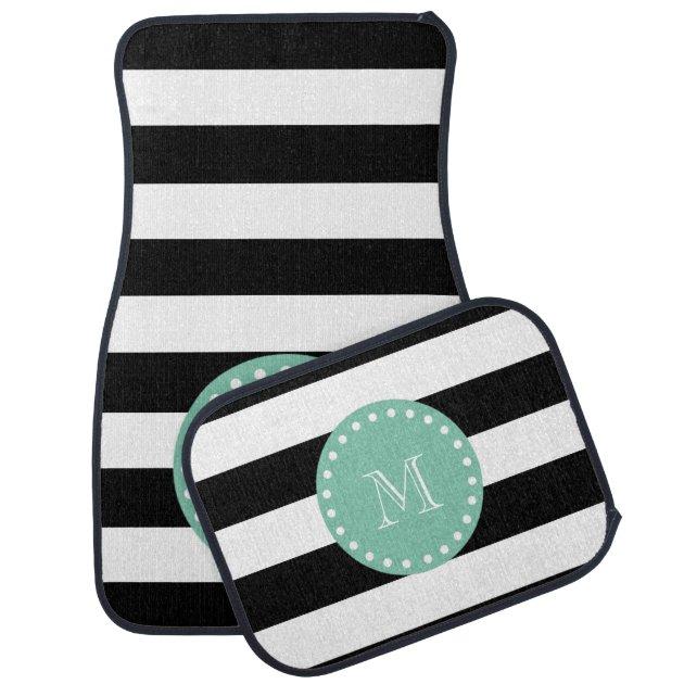 Black Stripes Pattern Mint Green Monogram Car Mat Zazzle